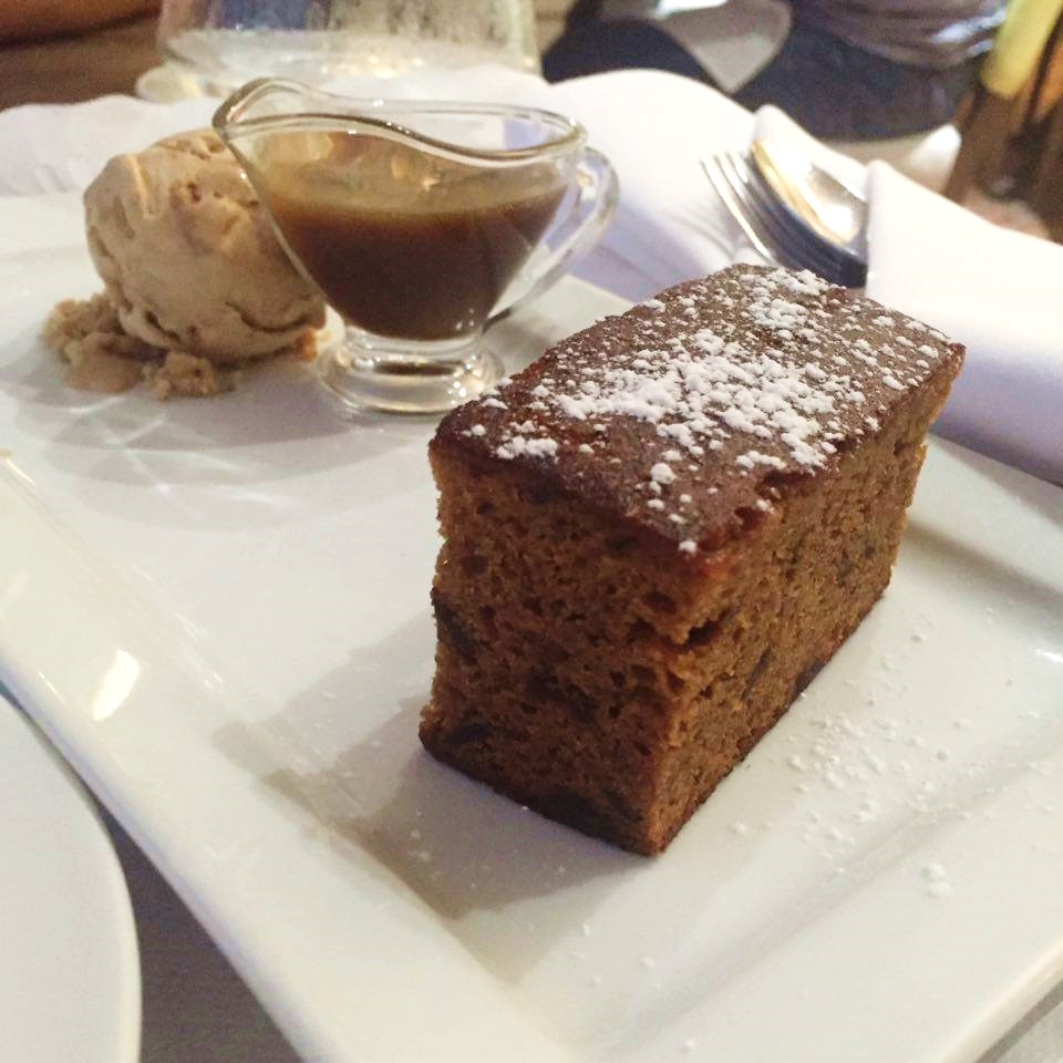sticky toffee pudding, north the grange hotel