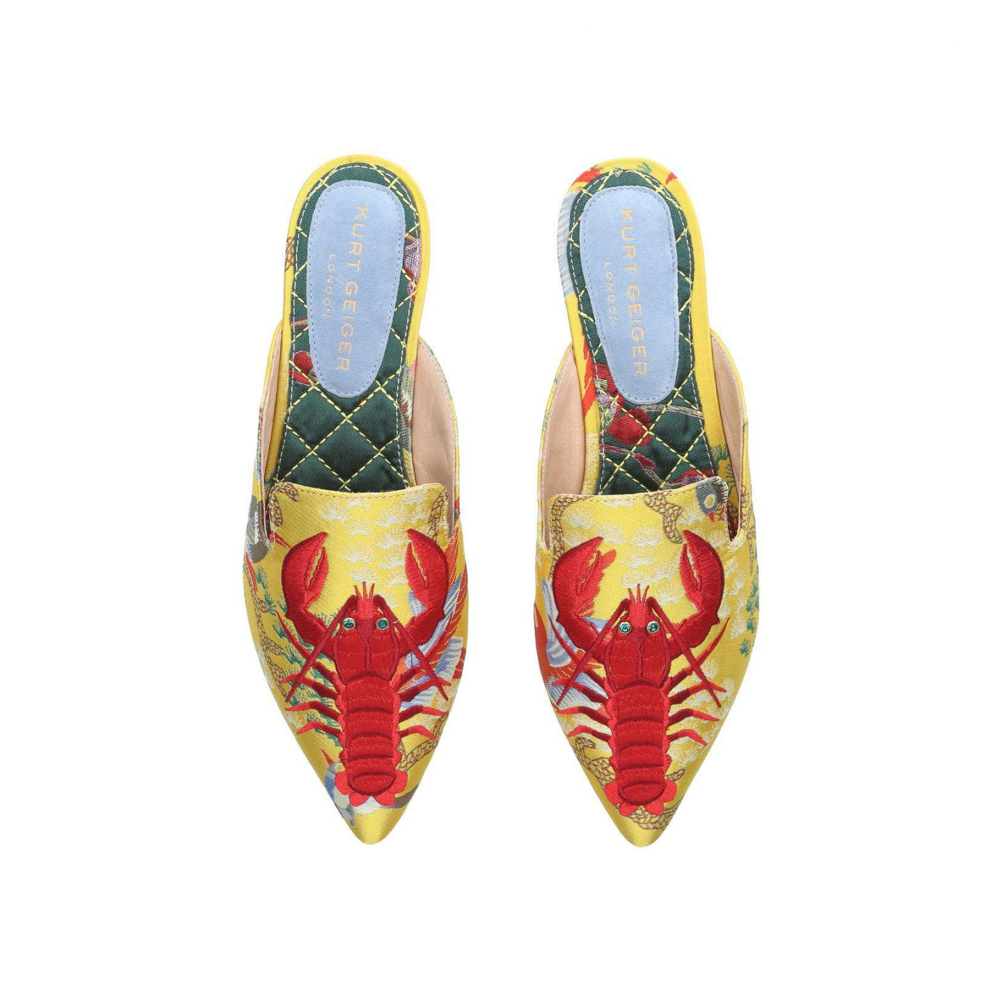 otter Yellow Flat Slip On Mules lobster