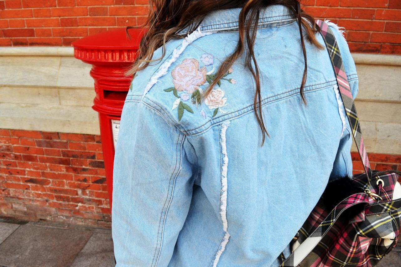 embroidered denim jacket new look