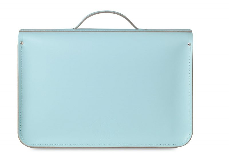 cambridge satchel pastel blue turquosie back