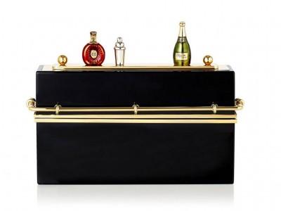 Charlotte-Olympia-Minibar-Perspex-metal-Black-gold-Clutch