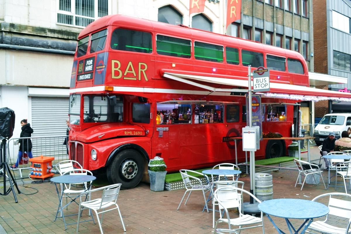 bolton council winter wonderland snow slide vintage bus bar