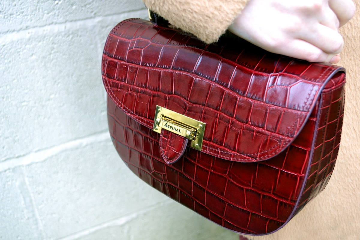 aspinal of london bordeaux croc saddle bag patent Trend Editorial: Pink Spring Tailored Chic