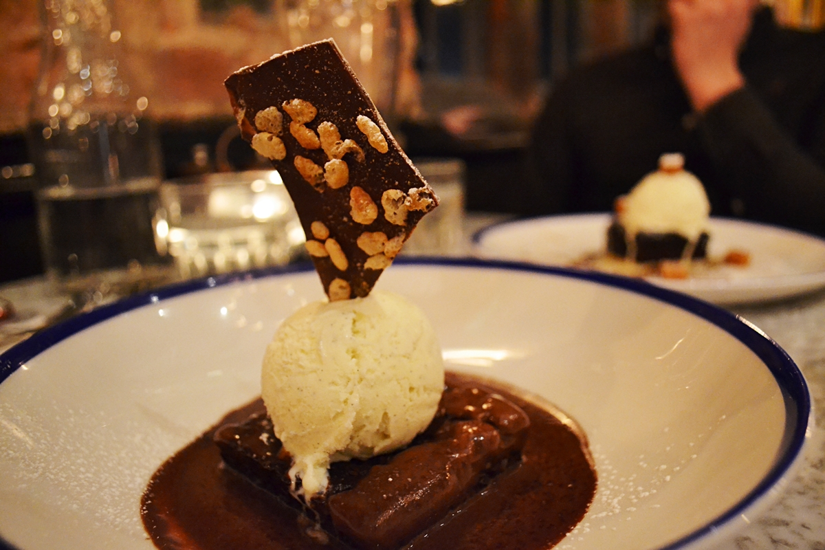Chocolate Brownie with Rice Krispie Shard and Vanilla Ice Cream £6.25 lost and found knutsford