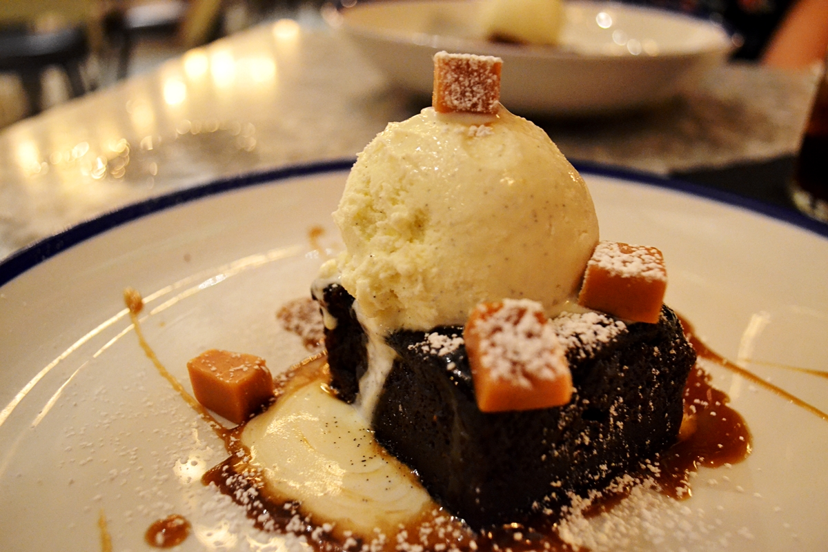 Sticky toffee pudding, fudge, spiced treacle sauce, vanilla pod ice cream (v) £6.25 lost and found knutsford