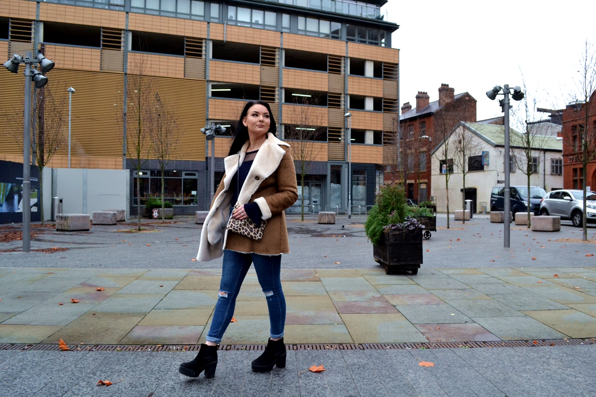 street style manchester editorial city girl shearling new look high street fashion