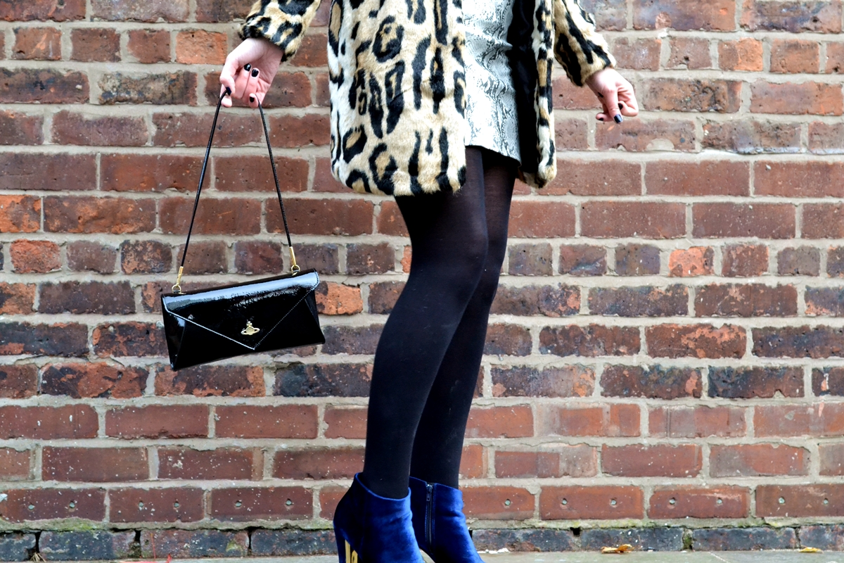 trend editorial texture clashing prints urban code london leopard coat vivienne westwood mirrorball clutch patent leather blue velvet new look shoes manchester