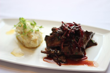 FEGATO ALLA VENEZIANA - PAN SEARED CALF LIVER WITH GRATED BEETROOT AND WHITE ONION, PAN JUICES AND MARSALA WINE SERVED WITH A ROAST ONION MASH POTATO