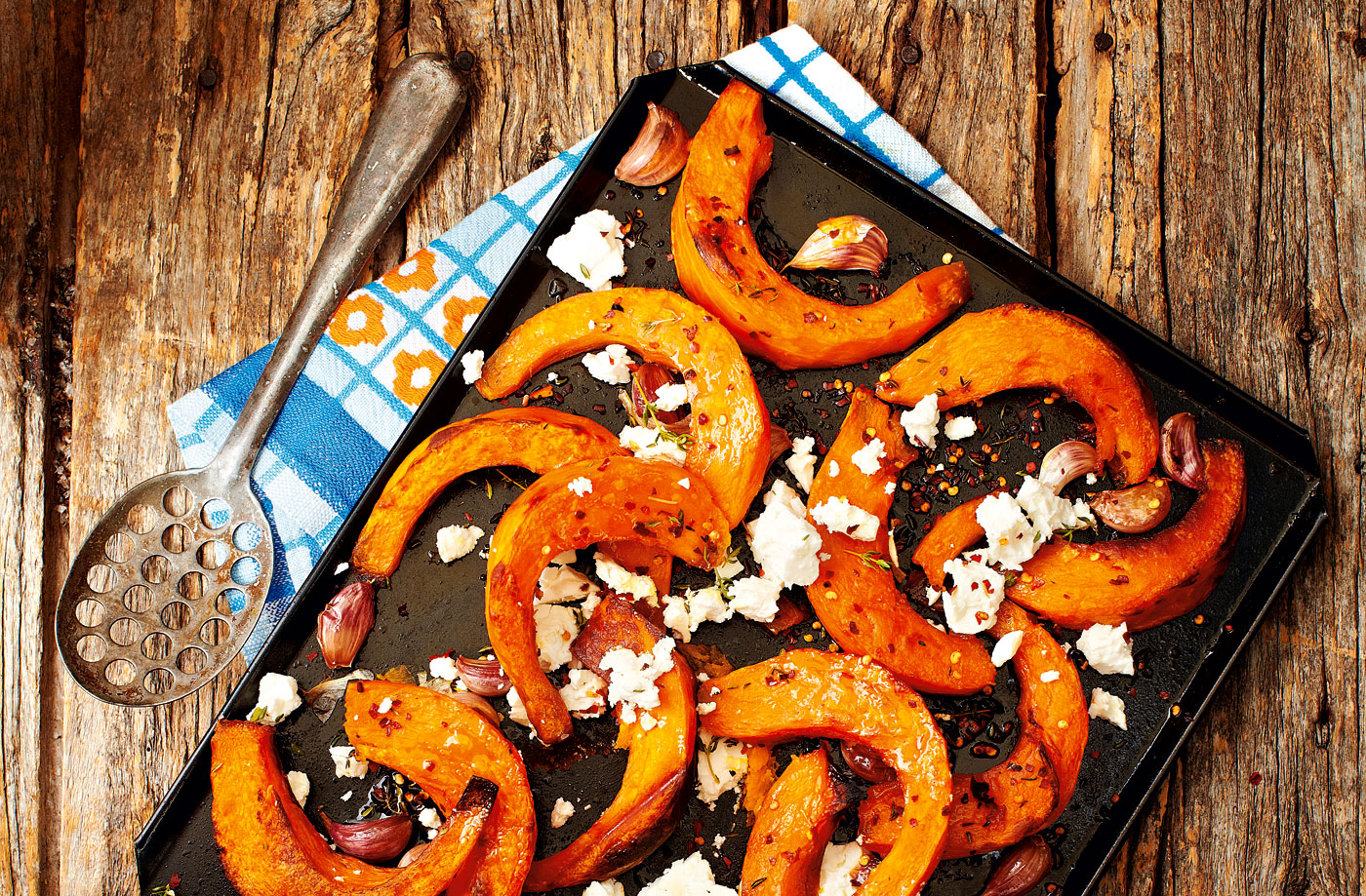 roasted pumpkin wedges with feta and thyme tesco