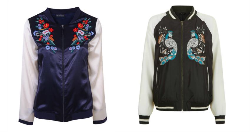 Miss Selfridge Silky Embroidered Bomber Jacket - £75. New Look Embroidered Bomber Jacket - £34.99