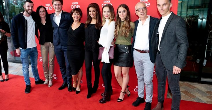 michelle keegan and cast of our girl at manchester premiere