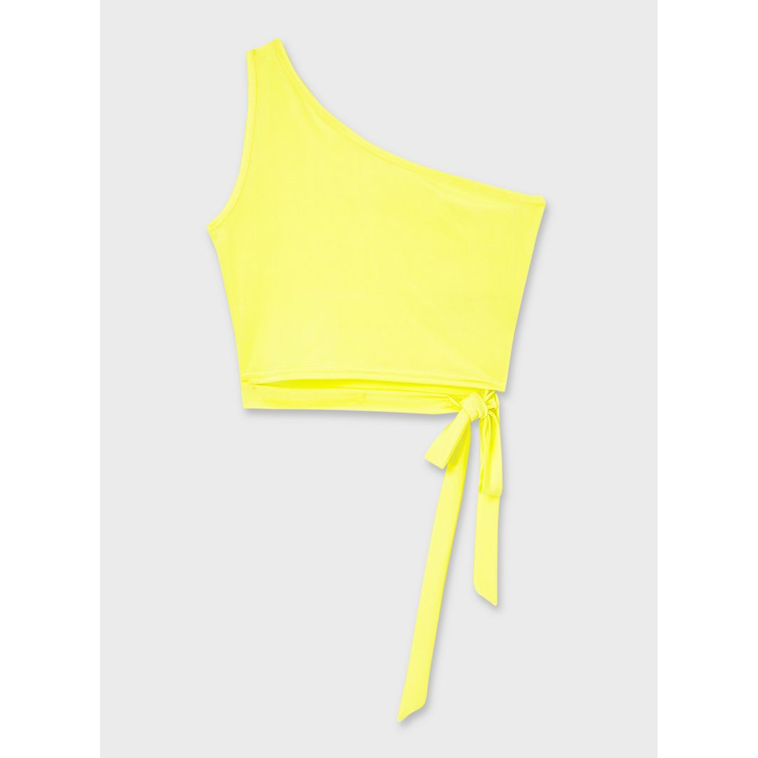 miss selfridge yellow one shoulder top