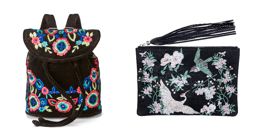 JD Williams Embroidered Floral Backpack - £35. Miss Selfridge Embroidered Clutch Bag - £35.