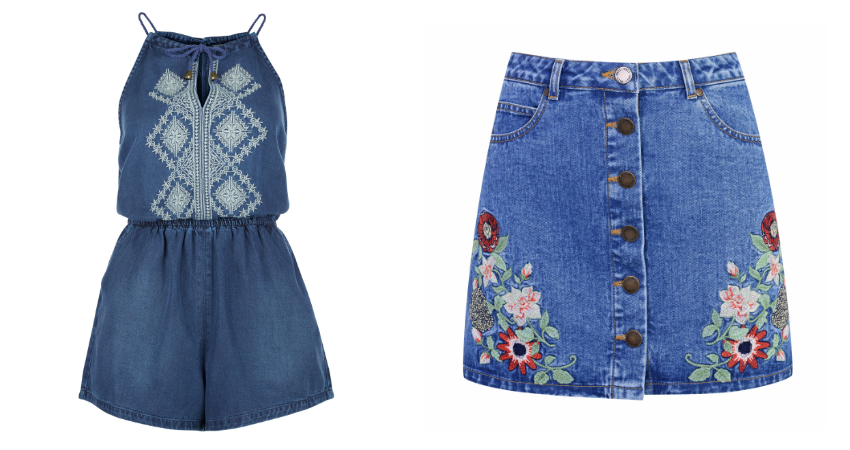 New Look Denim Embroidered Panel Playsuit - £22.99. Miss Selfridge Embroidered Denim Buttoned Skirt - £39.