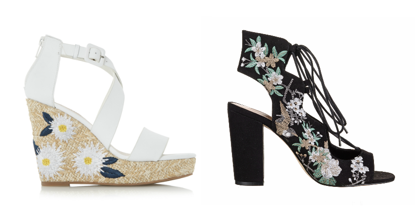 Dune Kesha Flower Embroidered Raffia Wedge Sandals - £75. Miss Selfridge Floral Embroidered Ghillie Heels - £65.