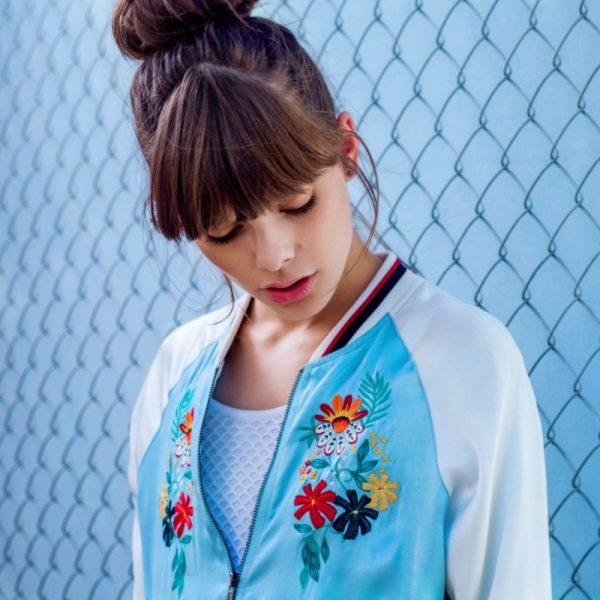 glamorous ss16 blue & white oriental flower bomber jacket