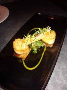 Hand Dived Scallops with Belly Pork, Chilli Caramel & Cucumber Pickle