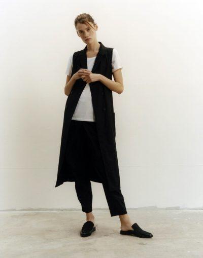 jigsaw_1802937613794829Black Button Through Dress, White Silk Tee, Black Wrap Trouser