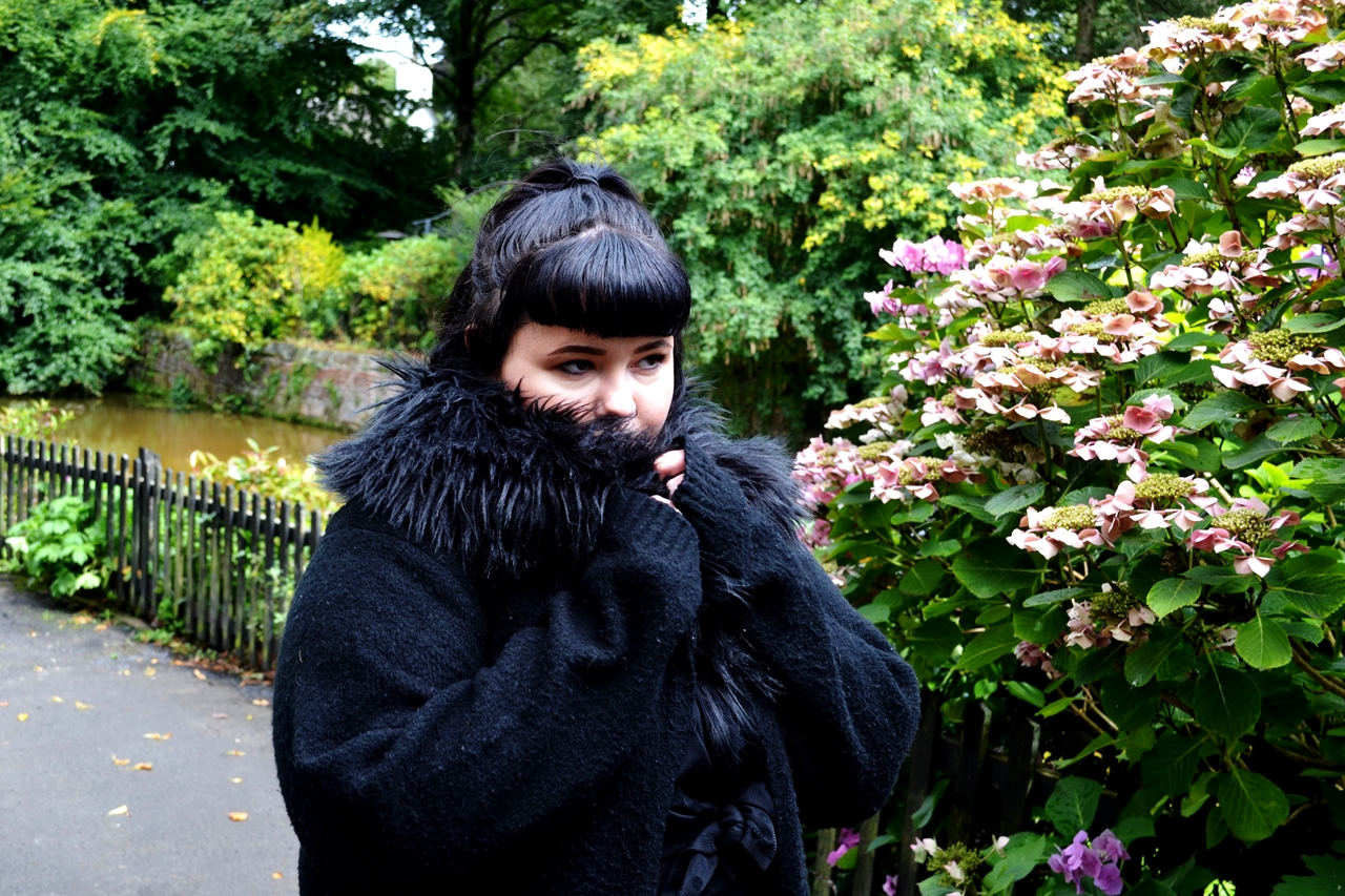 cute gothic girl faux fur