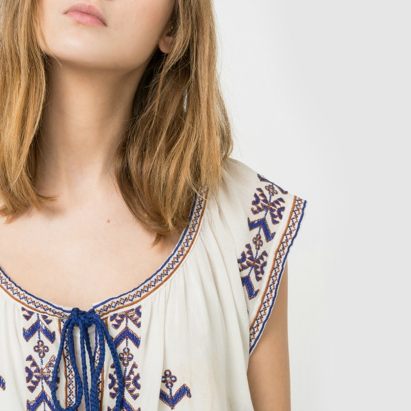 La Redoute Soft Grey Folk Shift Dress with Ethnic Embroidery - £35