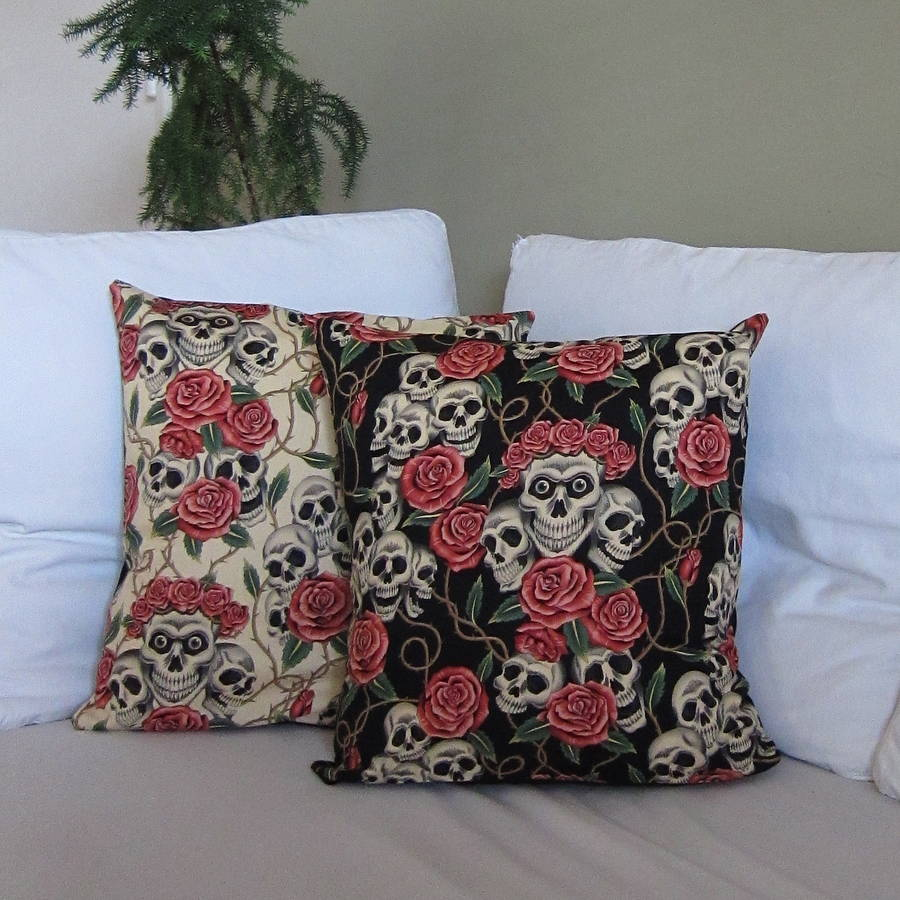 Skulls And Roses Cushion Cover Not On The High Street £22.00