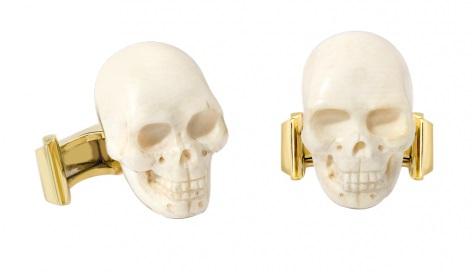 YELLOW GOLD CARVED MAMMOTH BONE SKULL CUFFLINKS – Theo Fennel store