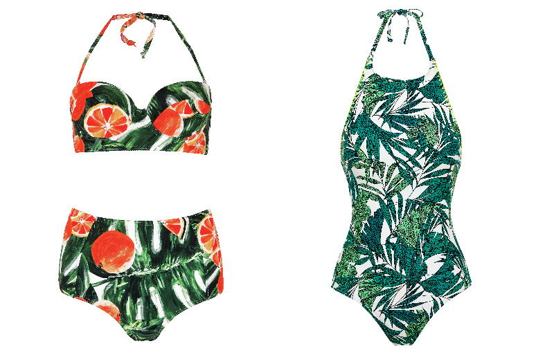 Next Orange print bralet and high waisted bikini briefs. Marks & Spencer High Neck Oaxaca Print Swimsuit